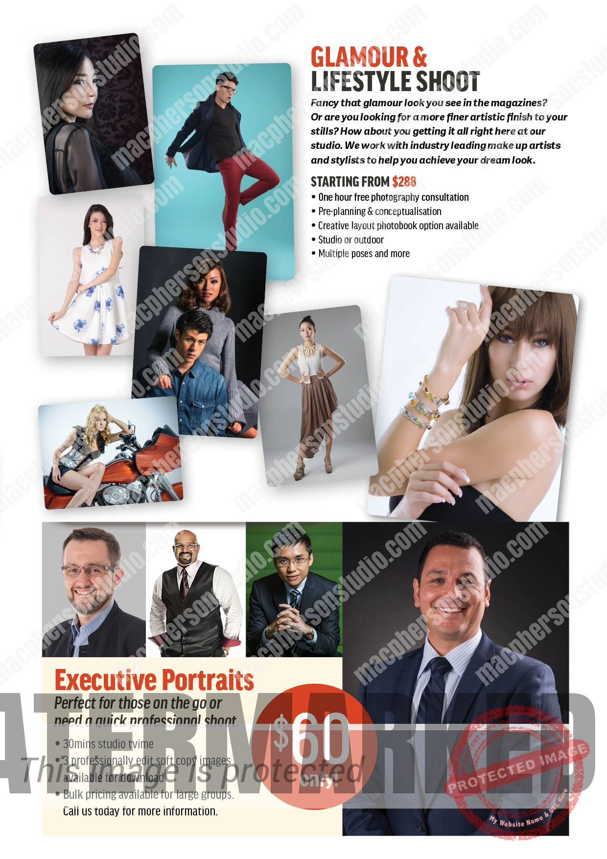Glamour & Lifestyle, Executive Portraits at Macpherson Studio.