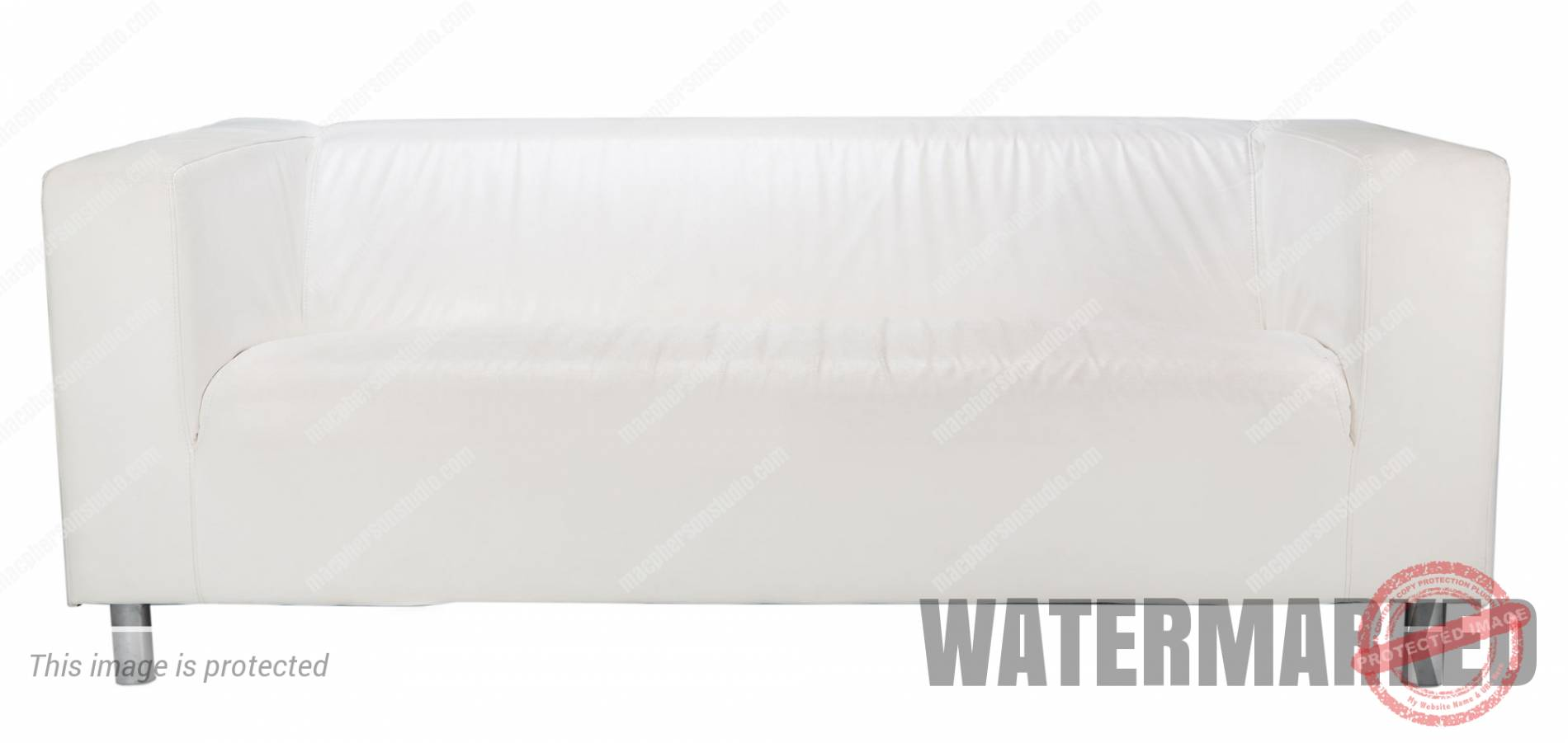 White Sofa with Gray Cover