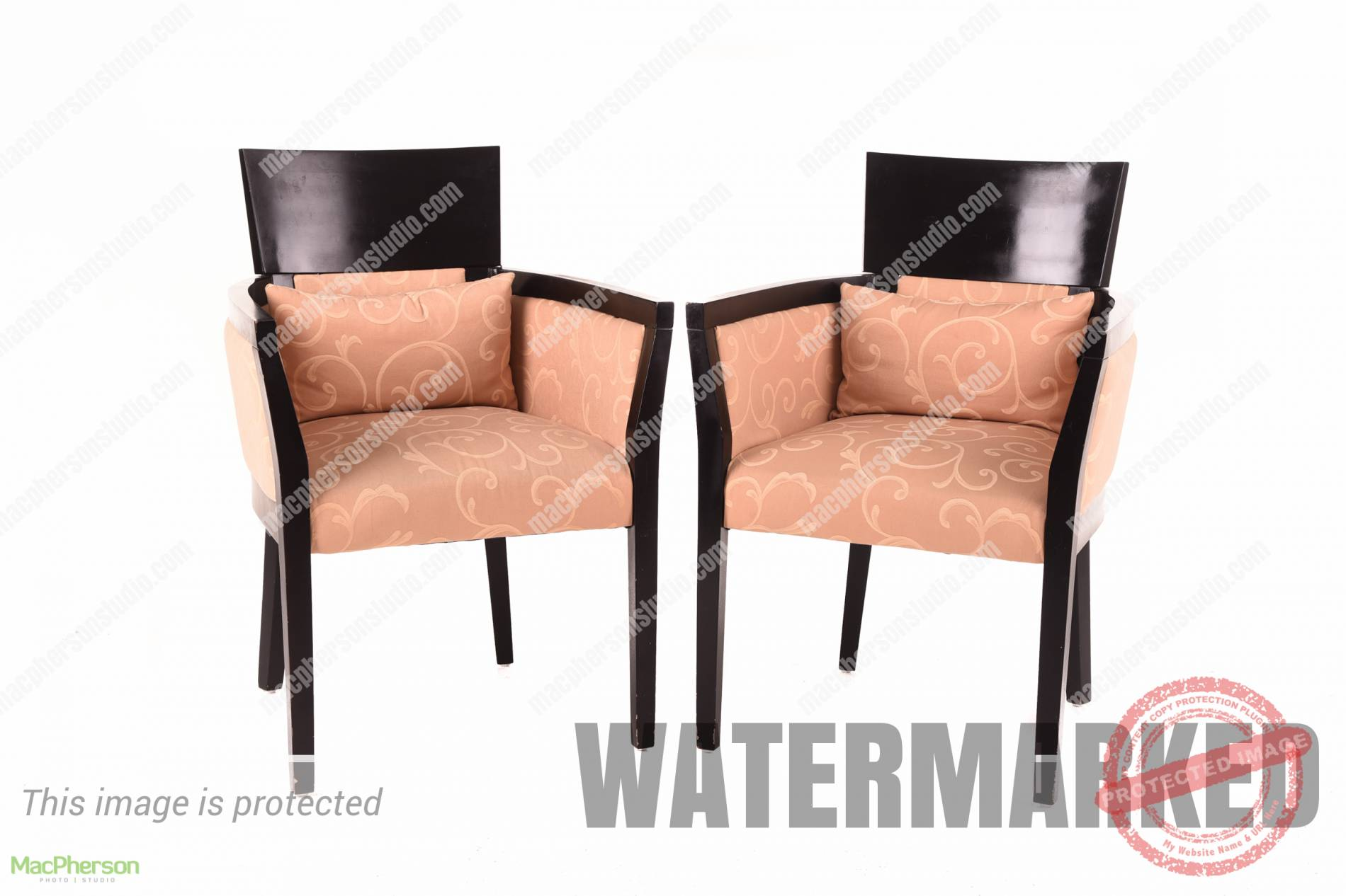 Wooden Arm Chair with Cushion - 2 pieces